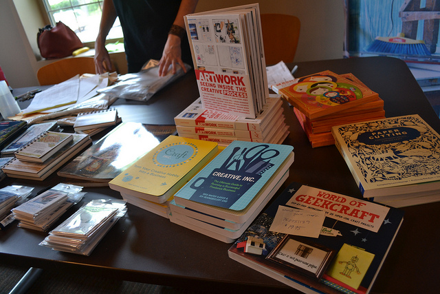 books for sale at midwest craft caucus