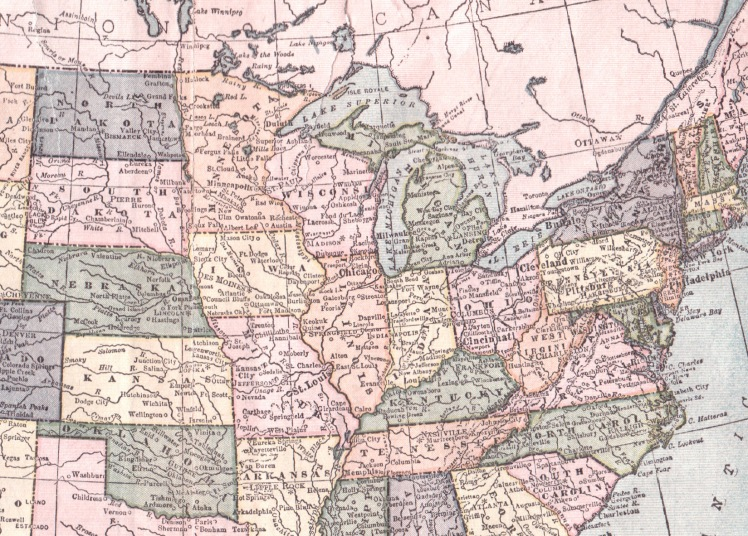 us midwest, vintage map, craft shows