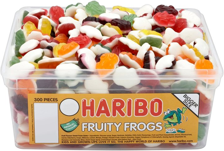 haribo gummy frogs tub