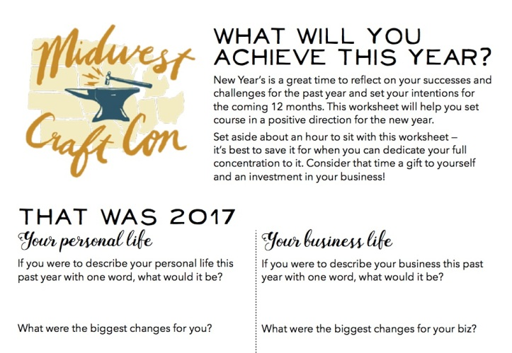Your Printable 2018 Resolution Worksheet Midwest Craft Con