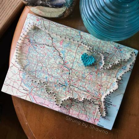 strung by shawna, string art, usa map